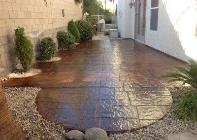 pattern concrete small backyard